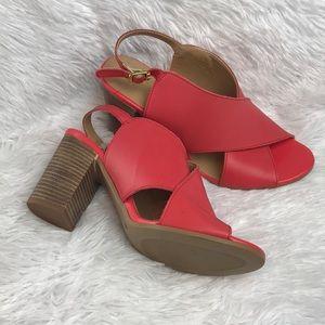 SEYCHELLES/ coral block heels NWOB